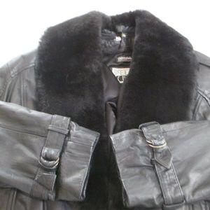 PELLE CUIR Jackets & Coats - PELLE CUIR Cropped Leather Mouton Fur Gray Jacket